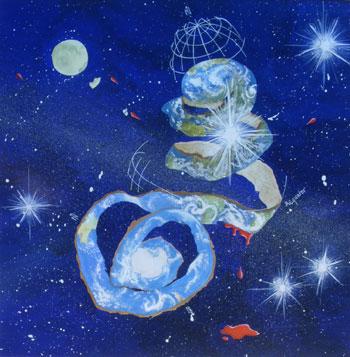 The Earth, 2000, 28.3cm x 28.7cm, Gouache auf Papier