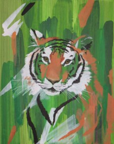 Tiger, 2006, 40cm x 50cm, Acryl auf Kunstfaserplatte, verkauft