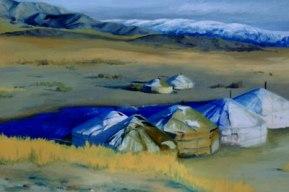 Farbe/Licht 1/5, 2006/07, Mongolei, 30cm x 45cm, Öl auf Karton