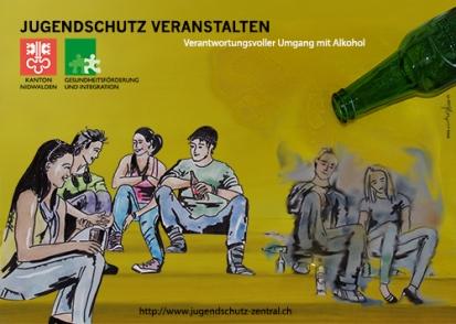 2014, Plakat, Jugendschutz veranstalten im Auftrag von Gesundheitsförderung und Integration Kanton Nidwalden
