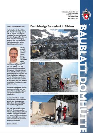 2012, Broschüre, Baublatt im Auftrag von SAC Sektion Uto