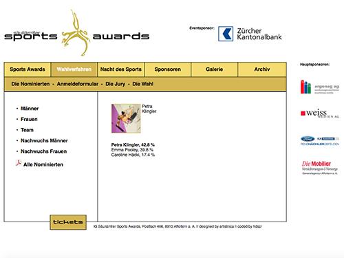2007, Homepage im Auftrag von säuliamtler sports awards