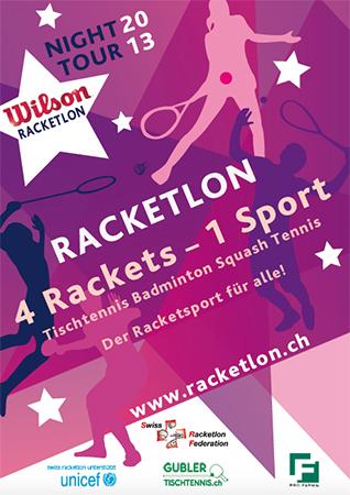 2013, Flyer, Racketlon Night Tour im Auftrag von Swiss Racketlon Federation
