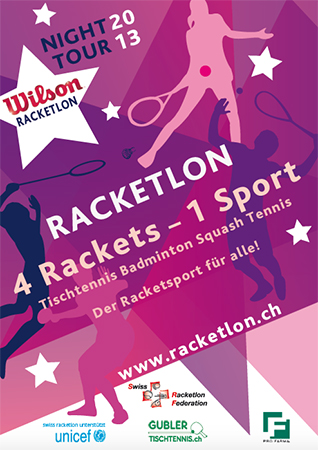 2013, Flyer, Racketlon Night Tour im Auftrag von Swiss Racketlon Federation