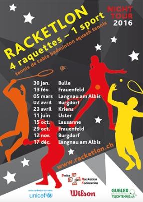 2016, Flyer, Racketlon Night Tour im Auftrag von Swiss Racketlon Federation