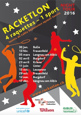 2016, Flyer, Racketlon Night Tour im Auftrag von Swiss Racketlon Federation