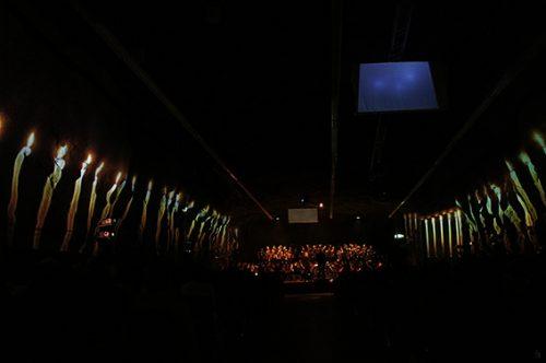"""Lichtkonzept für """"The Armed Man"""" zusammen mit Urs Kobelt, für den CantiChor der Kantonsschule unter der Leitung von Harri Bläsi, 2015, 2/3"""